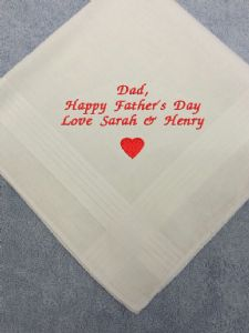 PERSONALISED EMBROIDERED HEART HANKIE - Father's Day Dad Gift - Handkerchief Message of Your Choice